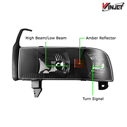 Winjet compatible with [1994 1995 1996 1997 1998 1999 2000 2001 2002 Dodge RAM] Headlights