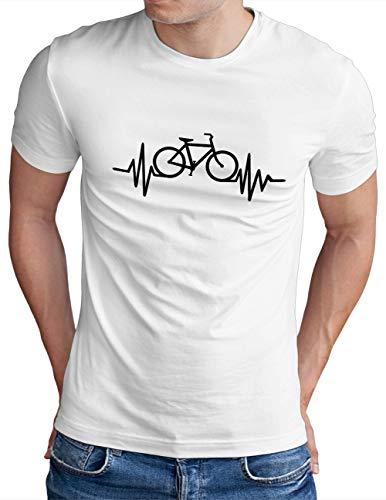 OM3® Herzschlag-Fahrrad T-Shirt | Herren | Bike Heartbeat Bicycle Rad Drahtesel | Weiß, XL