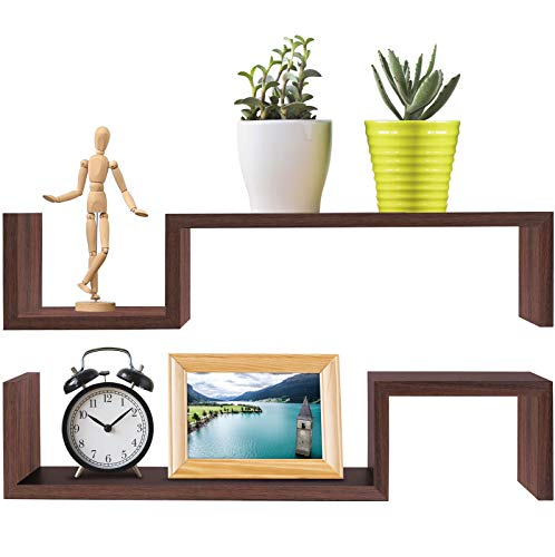Greenco Set of 2 Decorative S Shaped Wall Mounted Floating Shelves- Walnut Finish