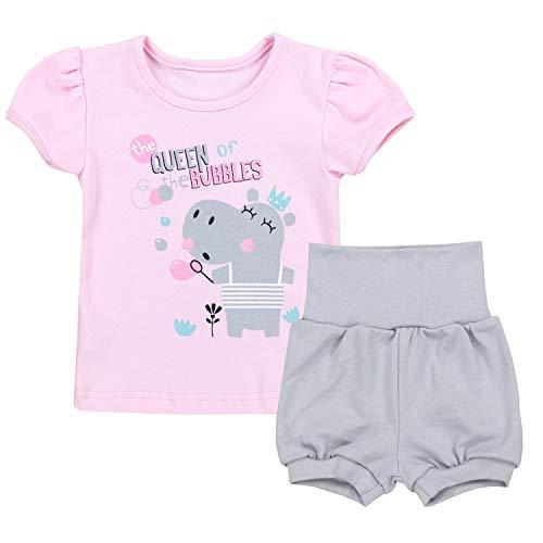 TupTam Baby Mädchen Sommer Bekleidung T-Shirt Shorts Set, Farbe: Queen of The Bubbles/Rosa/Grau, Größe: 68-74