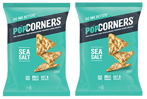 PopCorners PopCorn Snack Chips Pack of 2 5oz Bags (Sea Salt PopCorners)