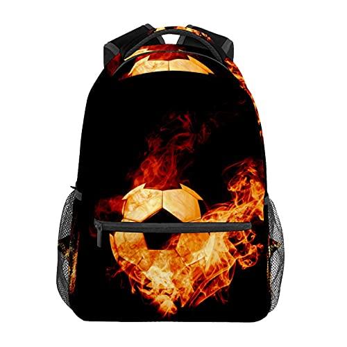 Zainetto da calcio a fuoco bruciato zaino scuola college viaggio escursionismo moda laptop zaino per donne uomini adolescenti casual borse di tela