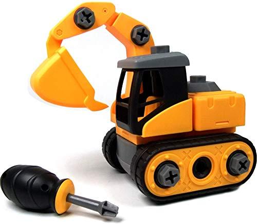 Ucradle Montage Bagger Spielzeug - Spielzeugbagger mit Schraubenzieher, Super Spaß beim Zusammenbauen und Schrauben, Ideale Lernspielzeug für 3 Jährige Kinder Mädchen Jungen