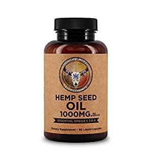 Medicine Wheel Supplements Hemp Seed Oil 90 Capsules - 1000 mg, Dietary Supplement with Omega 3-6-9