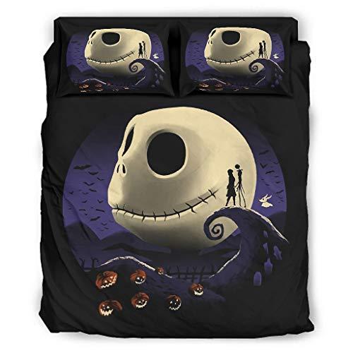Juego de edredón de 4 piezas, diseño de calabazas y pesadillas, suave, cómodo, ligero, juego de cama con fundas de almohada para todas las estaciones de color blanco 228 x 264 cm