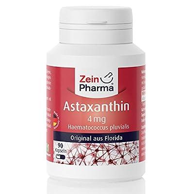 ZeinPharma Astaxanthin 4 mg 90 Capsules (3 Month Supply) Gluten Free, Vegan, Kosher & Halal Made in Germany, 36 g