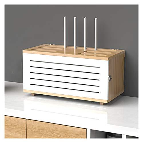 LJJOO Hogar y Office Wood WiFi Router Cable Cable, Soporte de caja de almacenamiento enrutador, Protector de sobretensiones de tira de energía ajustable, Contenedor de Administración de Cuerda, Estant