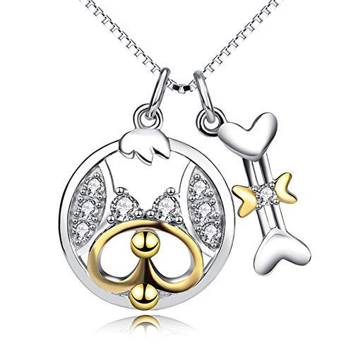 Dameshalsketting van 925 sterling zilver, met hangertje van hondenbeen, verguld met K gouden sleutelhanger 18'' Temperament ketting