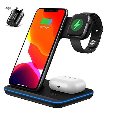 Faraone4w Kabelloses Ladegerät 3 in 1 Ladegerät Ständer QI Schnellladestation für Watch Series 5/4/3/2/1 Phone 11/11pro/X/XS/XR/Xs Max, S10 S9 S8 S7 und Qi-Zertifizierte Telefone mit QC 3.0 Stecker