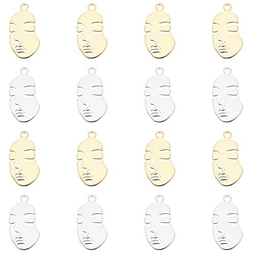 CHGCRAFT 20 colgantes de latón con forma de cara única de 2 colores, oro auténtico de 18 quilates y platino para collares, pulseras, joyas, manualidades