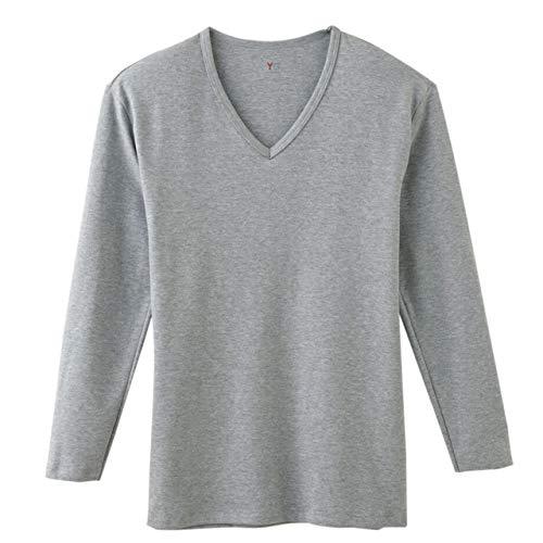 [グンゼ] インナーシャツ YG Cotton 100% シリーズ ダブルホット Vネック9分袖 メンズ グレーモク 日本 L (...