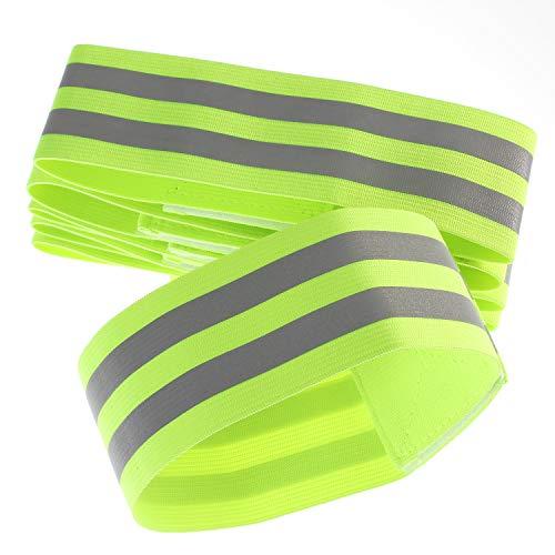 [6er Set] Doppel Reflektorbänder Elastisch, 35x5cm Reflektierendes Armband Reflektor für Outdoor Joggen, Radfahren, Wandern, Reiten, Laufen - Reflexband Leuchtband Klettverschluss, Grün TKB5062-green