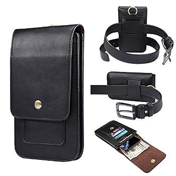 MeganStore Sac pour téléphone Portable, Petite Sacoche Homme,Pochette Portable téléphone Universel, Portefeuille, Carte de crédit (Noir)
