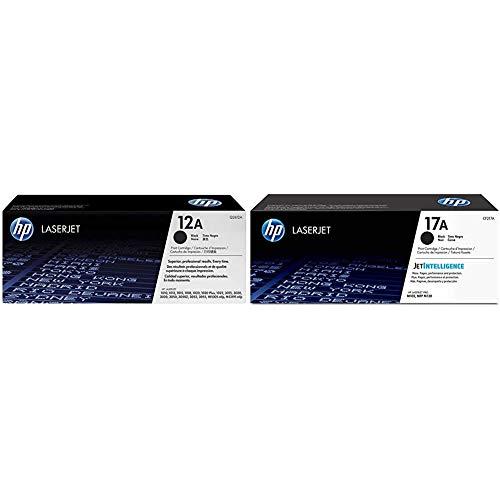 HP 12A Q2612A, Negro, Cartucho Tóner Original, de 2.000 páginas, para impresoras Laserjet Serie + 17A CF217A, Negro, Cartucho Tóner Original, de 1.600 páginas, para impresoras