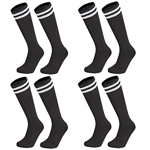 Kids Youth Soccer Socks, 4 Pack Knee High Striped Tube Athletic Sport Cushion Socks For Boys Girls Men & Women - Black - Medium