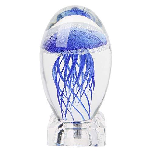 ZIRAN Lámpara de Mesa de Cristal de Medusas Luz de Noche LED 3D con Base de luz Lámpara de Cristal de Medusas de Colores mágicos
