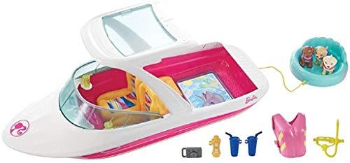 Barbie La Magie des Dauphins Hors-Bord rose et blanc, bateau pour poupées, figurines de chiots et accessoires, jouet pour enfant, FBD82