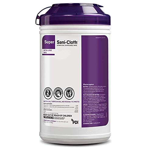 """Super Sani-Cloth Extra-Large Wipes (8"""" x 14""""), Case of 6 Canisters - Q86984"""