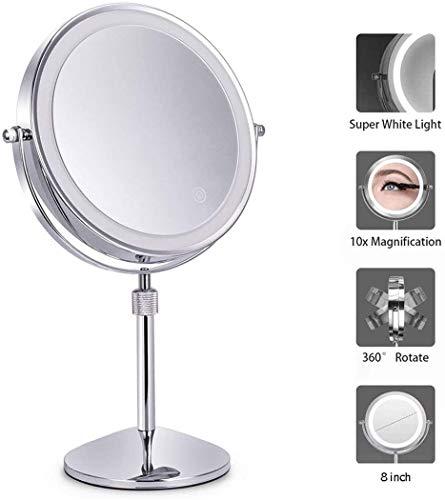 FANPING 10x Magnified Lighted Miroir de Maquillage Double Face Miroir Rond Vanity 360 degrés pivotant 8 Pouces Diamètre Rasage Salle de Bains Miroir Miroir cosmétique à Piles