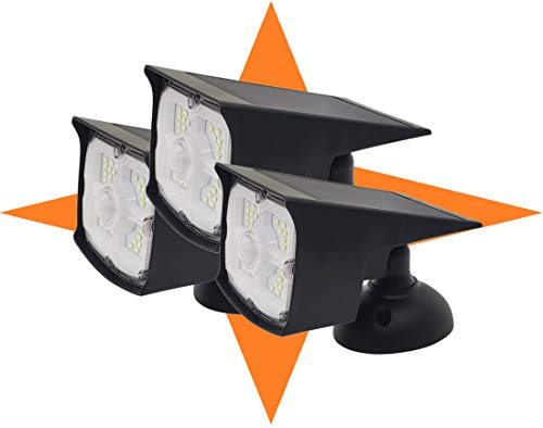 Guardian Tech Security Torch LED Spotlight [3-Pack] (Updated 2020 Model) | Solar Motion Detector Lights for Outside | High Powered Spot Light | Mountable Bright Wireless Spotlight Outdoor