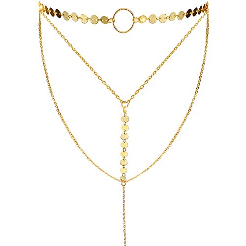 Suyi Stylish Layered Sequins Choker Necklace with Thin Long Chain Pendant for Women Lady Girl A-Gold