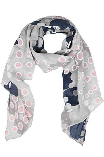 Zwillingsherz Seiden-Tuch im Punkte Design - Hochwertiger Schal für Damen Mädchen - Halstuch - Umschlagstuch - Loop - weicher Schlauchschal für Frühjahr Sommer Herbst und Winter - grau