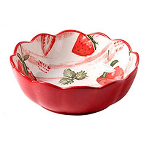 Platos de cerámica japonesa vajilla pequeña fruta fresca fresa linda red roja platos rojos personalidad creativa ensalada cuenco hogar,B