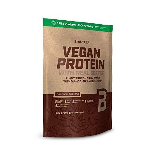 BioTechUSA Vegan Protein, Aromatisiertes, pflanzliches Protein-Getränkepulver mit Goji- und Açaí-Beeren-Pulver und Quinoamehl, 500 g, Kaffee