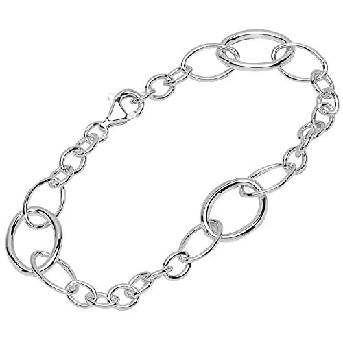NKlaus Pulsera de plata de ley 925, 19 cm, cadena de ancla redonda para mujer, 12116