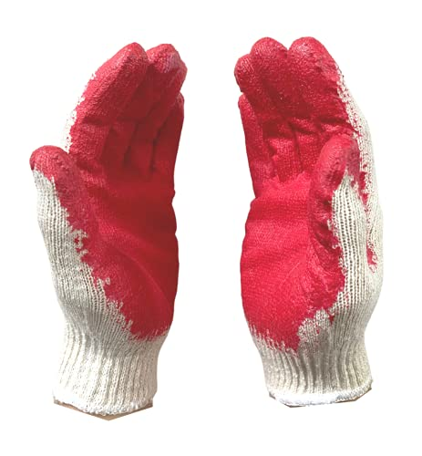 [10 Pairs] String Knit Palm, Latex Dipped Nitrile Coated Work Gloves For General Purpose, Red (One size fits all (10 pairs))