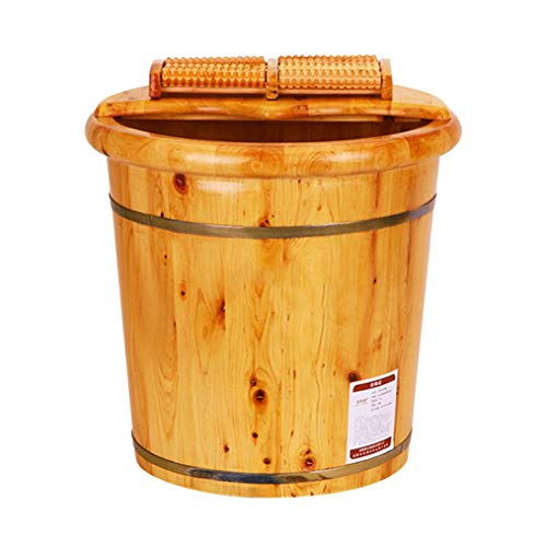 Spa Bain De Pieds Barrel For Spa, Pied Bain, Seau En Bois Lavabo Ménage, Lisse Et Délicat Footbath Cypress, Sauna, Tremper, Trempage, Barils Pédicure Bowl, Bois Pied Bassin Baignoire Seau Avec Couverc