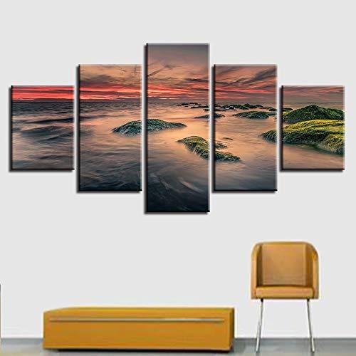 Picture art HD printing 5 stuks zee rif zonsondergang landschap modulaire canvas schilderij decoratie woonkamer wandplank artwork