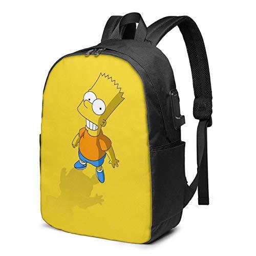 The Simpsons Bart Simpson - Mochila escolar ajustable con puerto de carga USB para auriculares, gran mochila