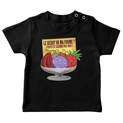 Okiwoki T-shirt bébé Noir parodie One Piece - Fruit du Démon - Le secret de la forme des pirates de Grand Line ! (T-shirt de qualité premium de taille 18 mois - imprimé en France)