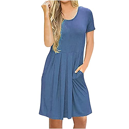 Vestidos de verano para mujer, vestido de sol para mujer, manga corta, liso, plisado, con cuello en O, suelto, casual, hasta la rodilla, vestido de túnica