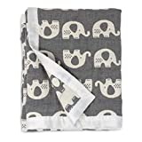 Living Textiles Muslin Jacquard Grey Elephant Soft Baby Blanket Premium Quality Cotton for Best Comfort | Double Layer,Swaddle,Receiving,Infant,Toddler,Newborn,Nursery,Boy,Girl,Gift | 40x30 Inch