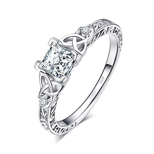 JewelryPalace Vintage Engagement Rings for Women, 14K Gold Plated 925 Sterling Silver Cubic Zirconia Promise Rings for Her, Anniversary Celtic Knot Princess Cut Solitaire Simulated Diamond Ring Size 7.5