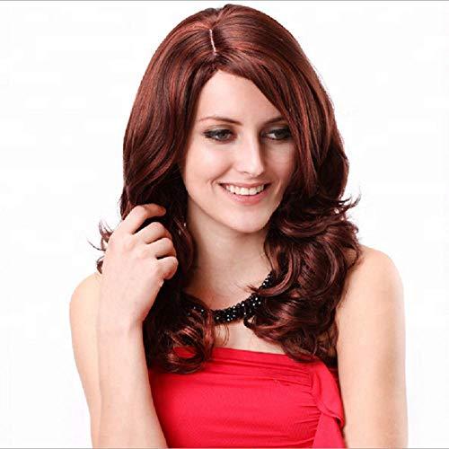 Pelo largo y rizado ondulado rojo parduzco,40 cm, cabello natural, seda de alta temperatura con fibra química, peluca utilizada por las mujeres para vestirse a diario