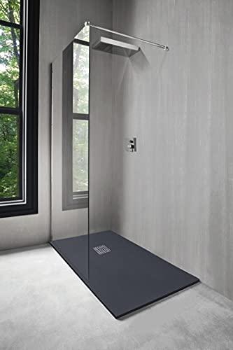 Receveur de douche NOLA, Receveur extra-plat texture imitation pierre. 90x160x3cm - Découpable - Antibactérien - Antidérapant niveau 3 - Résine - Livré sans bonde - Fabriqué en Europe - Gris anthracite
