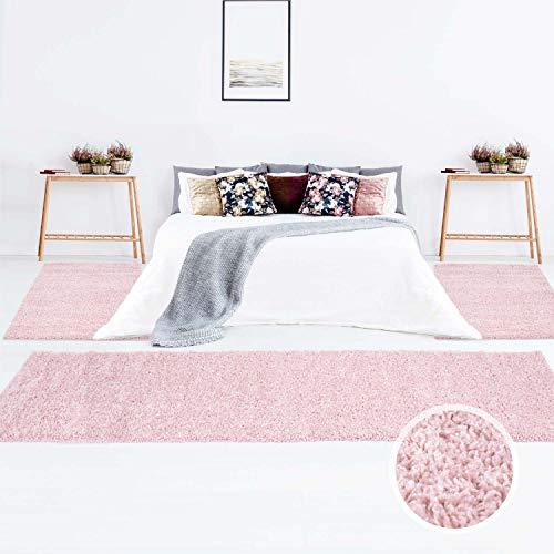 Teppich Shaggy Hochflor Langflor Einfarbig Beige Öko Tex Bettumrandung 2x 80x150 & 1x 80x300