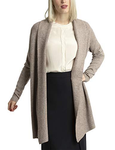 APART kuschelig warme Damen Jacke, Strickjacke lang, Cardigan, Kurzmantel, mit Kaschmir-Anteil, verschlusslos