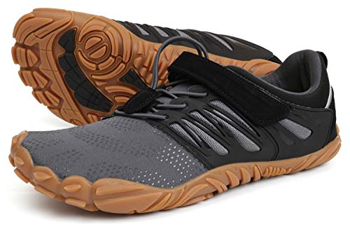 WHITIN Men's Trail Running Shoes Minimalist Barefoot 5 Five Fingers Wide Width Toe Box Gym Workout Fitness Low Zero Drop Male Light Weight Comfy Lite Tennis FiveFingers Grey Gum Size 10