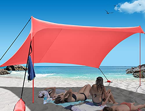 Easierhike Family Beach Sunshade Tent UPF50+ UV Protection Portable Windproof Design with 6 Sandbags Anchors 7x7 FT 2 Poles Outdoor Shelter for Beach, Camping, Fishing, Backyard and Picnics