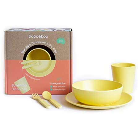Bobo&Boo Bamboo 5 Piece Children's Dinnerware, Sunshine Yellow, Non Toxic & Eco Friendly Kids Mealtime Set for Healthy Infant Feeding, Great Gift for Birthdays, Christmas & Preschool Graduations