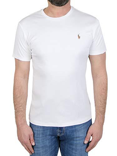 Polo Ralph Lauren T-Shirt Bianca, Ricamo Logo Frontale Colorato, Maniche Corte, Girocollo, Collo, Maniche e Fondo a Costine, vestibilità Slim Fit XXL