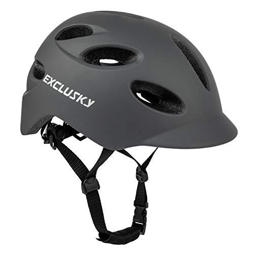 Exclusky Adult Bike Helmet, Adjustable Bicycle Helmet for Men and Women, Lightweight Helmet with USB Rechargeable Rear Light for Urban Commuter