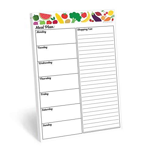 321Done Wochenkalender Notizblock, hergestellt in den USA, 50 Blatt (14 x 21,6 cm), Wochenplanung To-Do-Liste, Checkliste zum Abreißen, Chevron 2A - Meal Plan E - Obst Gemüse