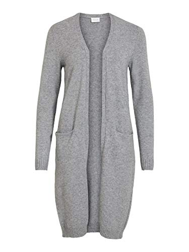 Vila Damen Viril Long L/S Knit Cardigan - Noos Strickjacke, Medium Grey Melange, L EU