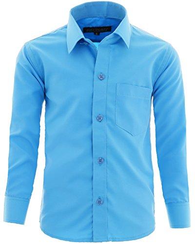 GILLSONZ A1vDa Kinder Party Hemd Freizeit Hemd bügelleicht Lange Arm, Türkis, 140/146 (Herstellergröße: 12)