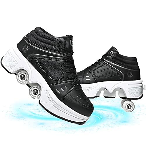 Zapatos De Patinaje sobre Ruedas 4 Ruedas, Patines En Línea Ajustables para Niños con Cuatro Ruedas para Exteriores E Interiores Zapatillas De Gimnasia